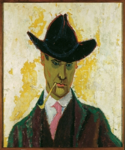ah-art feininger 1910 self portrait with clay pipe