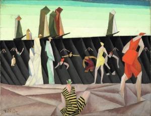 ah-art feininger 1912 bathers-on-the-beach-i-1912-1912