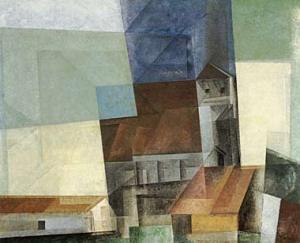ah-art feininger 1927 Kirche über Stadt,   D Bank