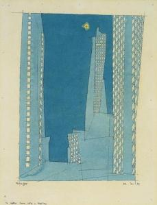 ah-art feininger 1937 blue skyscrapers Watercolor and India ink on laid paper,(31.1 x 24.4 cm) lge