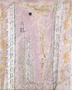 ah-art feininger 1944 manhattan dawn (88.1 x 70.2 cm) Chicago