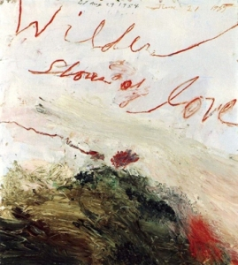 Cy Twombly Wilder Shores of Love (Bassano in Teverina) 1985 Cy Twombly Collection   Cy twombly Oil-based house paint, oil paint [paint stick], coloured pencil, lead pencil on wooden panel 140 x 120 cm